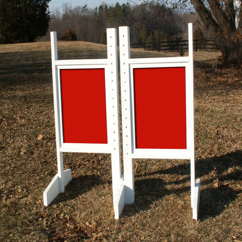 Solid Panel Colored Wing Standards Wood Horse Jumps - Platinum Jumps