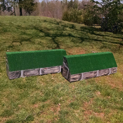Stone Pattern Roll Top Wall Horse Jumps Set/2 - Platinum Jumps
