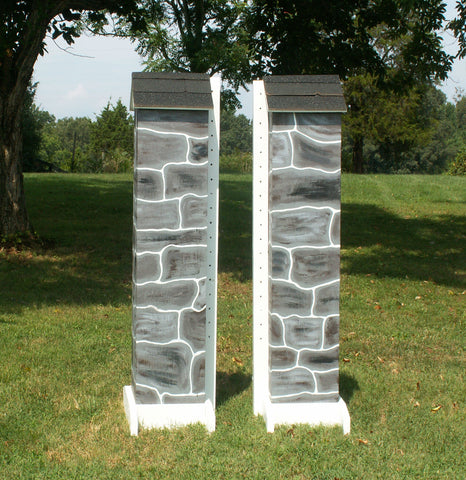 Skinny Stone Column Standards Wood Horse Jumps - Platinum Jumps