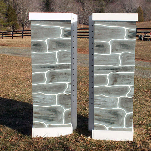 Stone Column Standards Wood Horse Jumps 2 Heights - Platinum Jumps