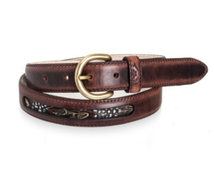 leather game bird feathers belt