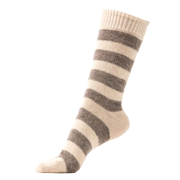Alpaca Boot Socks in Ecru and Fog Stripe