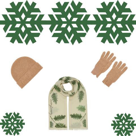Christmas Cashmere Pack - Oak Scarf with Pure Cashmere Hat and Gloves