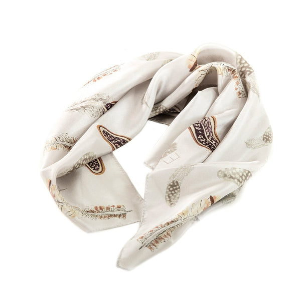 Pluma - Illustrated Game Bird Feather Square Silk Scarf
