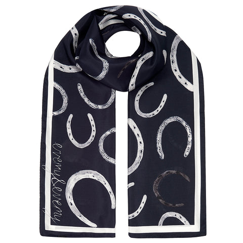 Equus - Illustrated Horseshoe Silk Scarf in Navy