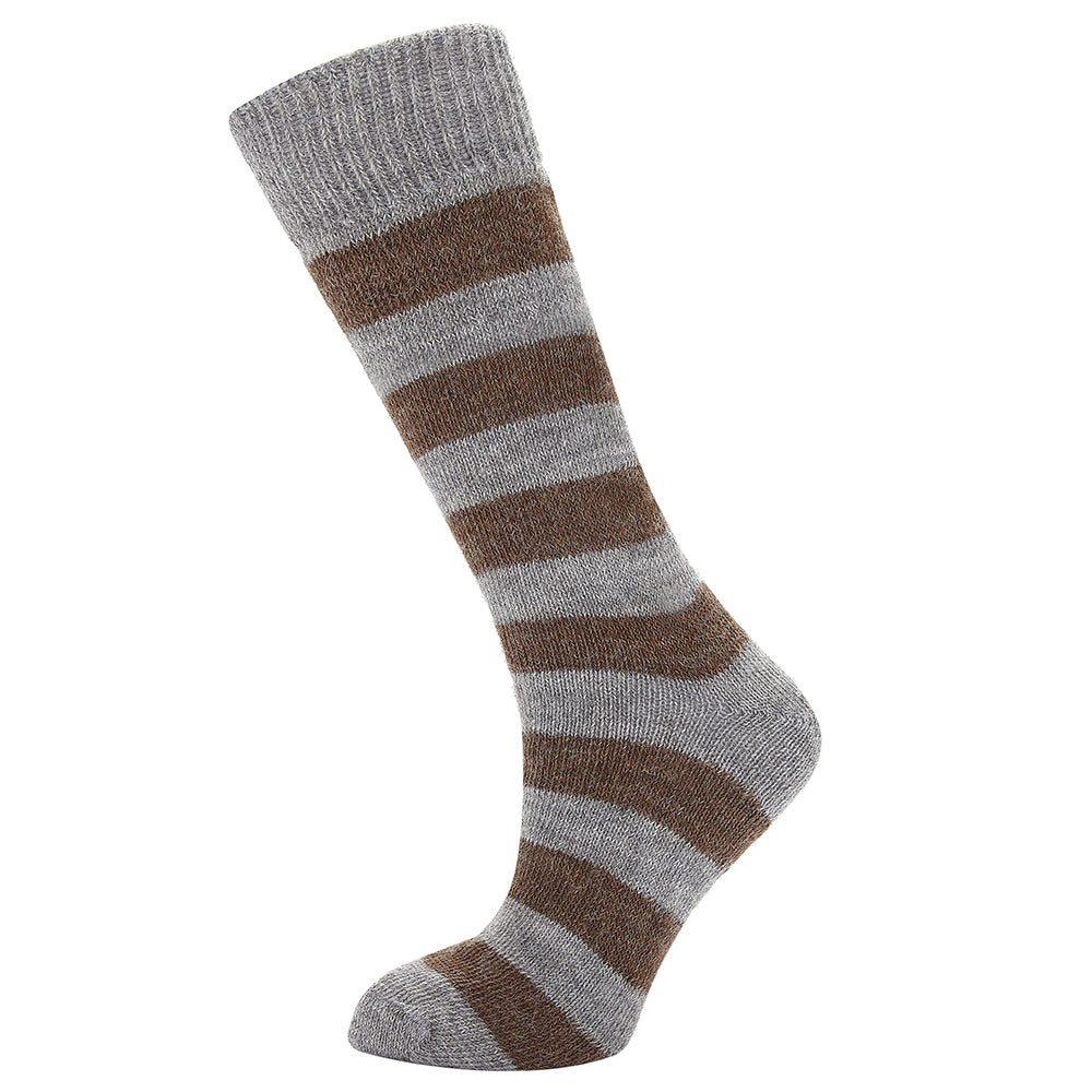 Alpaca Boot Socks in Chocolate and Fog