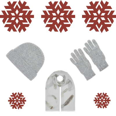 Christmas Cashmere Pack - Pluma Scarf with Pure Cashmere Hat and Gloves