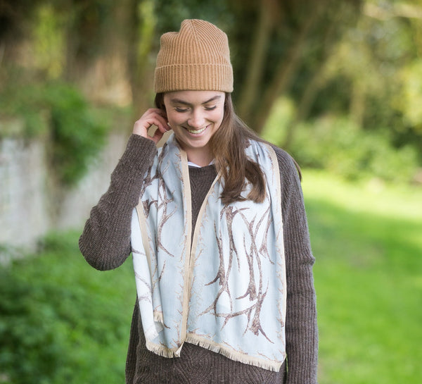 Christmas Cashmere Pack - Antler Scarf and Pure Cashmere Hat and Gloves