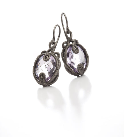 Brigitte Adolph Amethyst Black Rhodanized Silver Earrings