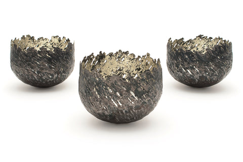 Claire Malet 'Three small vessels' Steel & 12ct Yellow Gold Sculpture