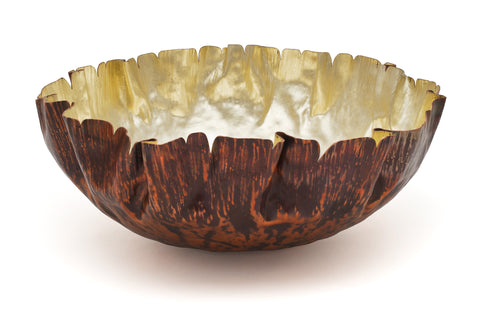 Claire Malet 'Folded Copper Bowl' Copper & 18ct Green Gold Sculpture