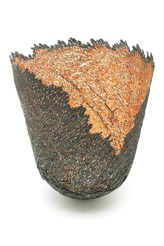 Claire Malet 'Steel Ridged Vessel' with Copper & 23ct Gold Sculpture