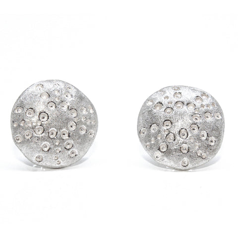 AMOC  'Sea Urchin' Organic Texture Silver Earrings