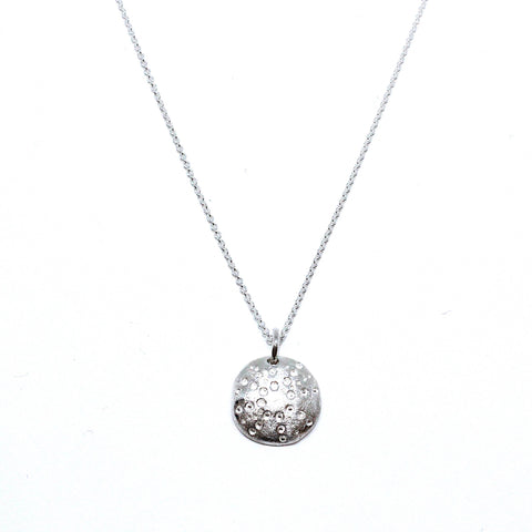 AMOC ''Sea Urchin' Organic Texture Silver Necklace