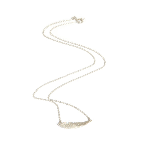 Amoc Feather Bar Pendant Silver Necklace