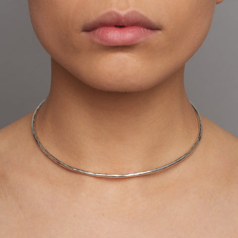 Amoc Hammered Textured Collar Silver Necklace