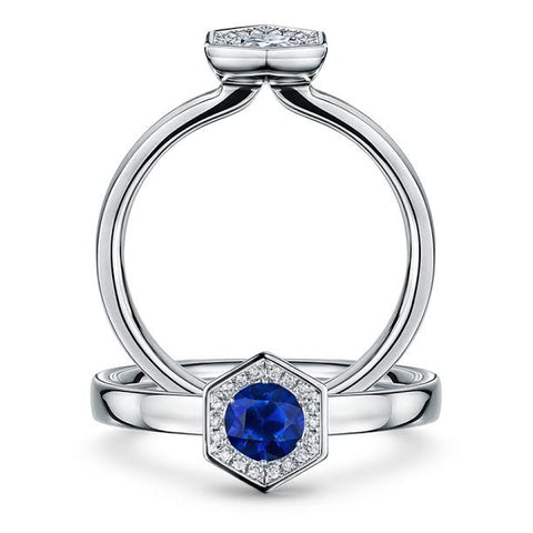 Andrew Geoghegan 18ct White Gold 'Chapiteau' Sapphire Diamond Ring