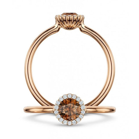 Andrew Geoghegan 18ct Rose Gold Chocolate Cannele Diamond Ring