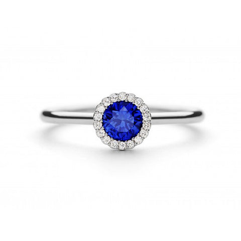 Andrew Geoghegan Blue Sapphire Cannele 18ct White Gold Diamond Ring