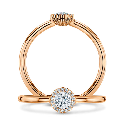 Andrew Geoghegan 18ct Rose Gold White Cannele Diamond Ring