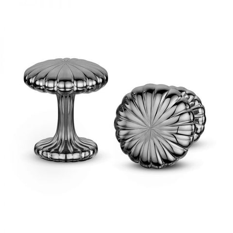 Andrew Geoghegan Cannele Black Rhodium Plated Silver Cufflinks