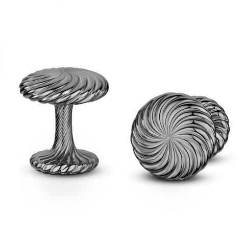 Andrew Geoghegan Cannele Twist Black Rhodium Plated Silver Cufflinks