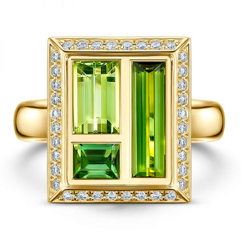 Andrew Geoghegan Chocolate Box Envy 18ct Yellow Gold Tourmaline and Diamond Ring