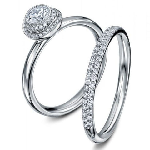 Andrew Geoghegan Clair De Lune Platinum Wedding Band Diamond Ring