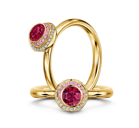 Andrew Geoghegan 'Clair de Lune Roux' 18ct Yellow Gold Ruby and Diamond Ring