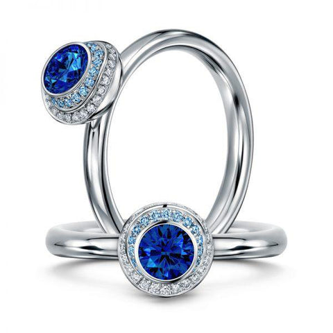 Andrew Geoghegan 'Clair de Lune' 18ct White Gold Blue Sapphire and Diamond Ring