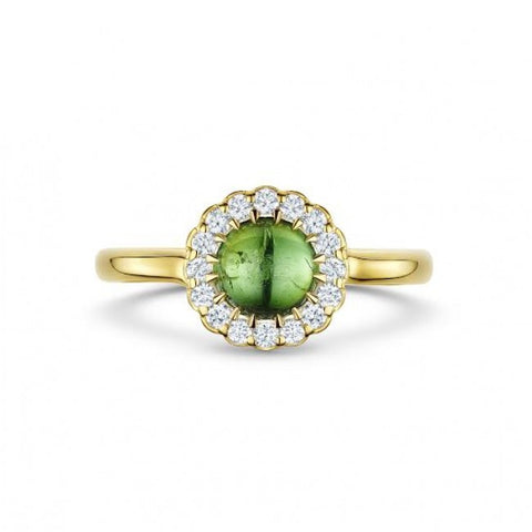 Andrew Geoghegan Green Tourmaline 18ct Yellow Gold Diamond Ring