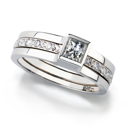 Andrew Geoghegan 'Unity Princess' 18ct White Gold Diamond Ring