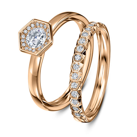 Andrew Geoghegan 18ct Rose Gold Bespoke Chapiteau de Diamants Wedding Band Diamond Ring