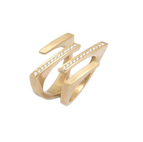 Angela Hubel 'Parallelo' 18ct Yellow Gold Diamond Ring