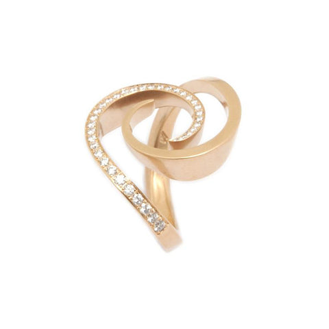 Angela Hubel 'Windrose' 18ct Rose Gold 0.32ct White Diamond Ring