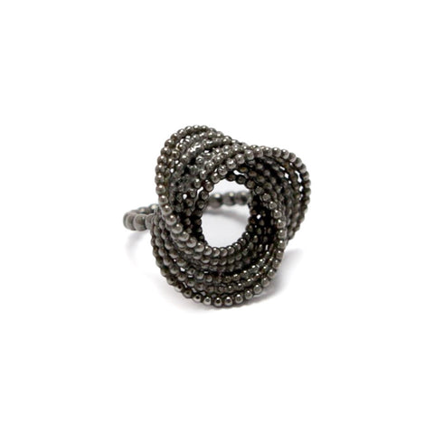 Atelier Luz Bubble Black Rhodinized Silver Ring