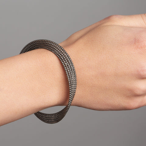 Atelier Luz Bubble Black Rhodinized Twist Silver Bracelet