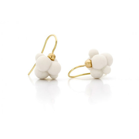 Atelier Luz Porcelain 'Cloud' 14ct Yellow Gold Earrings