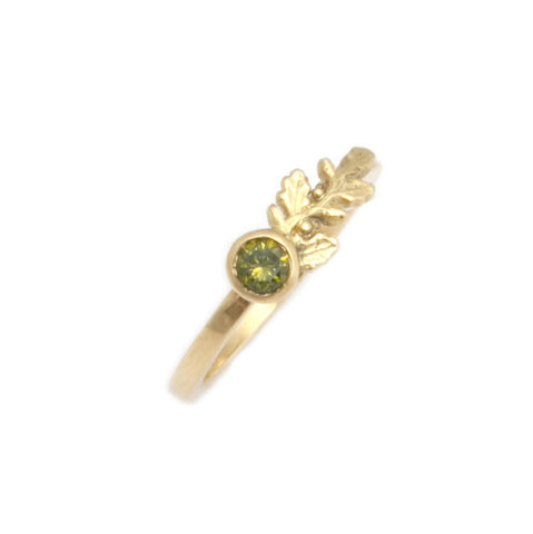 Beth Gilmour 18ct Yellow Gold Green Diamond Ring