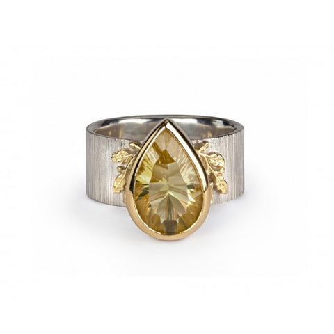 Beth Gilmour Golden Oak Lemon Quartz 18ct Yellow Gold Silver Ring