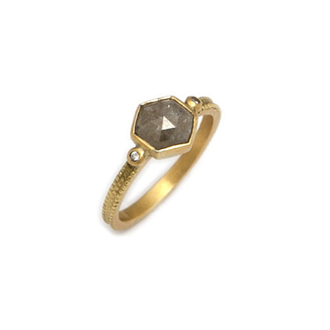 Beth Gilmour 18ct Yellow Gold Light Grey Diamond Ring 2