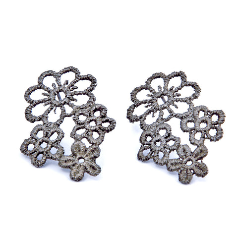 Brigitte Adolph Embroidery Style 4 Flower Black Rhodanized Silver Earrings