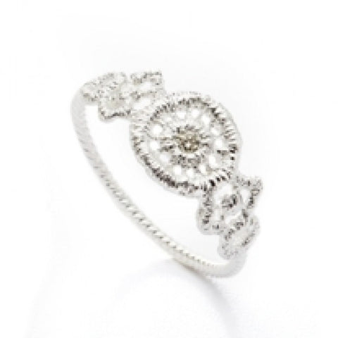 Brigitte Adolph Silver Lace Ring with Champagne Diamond