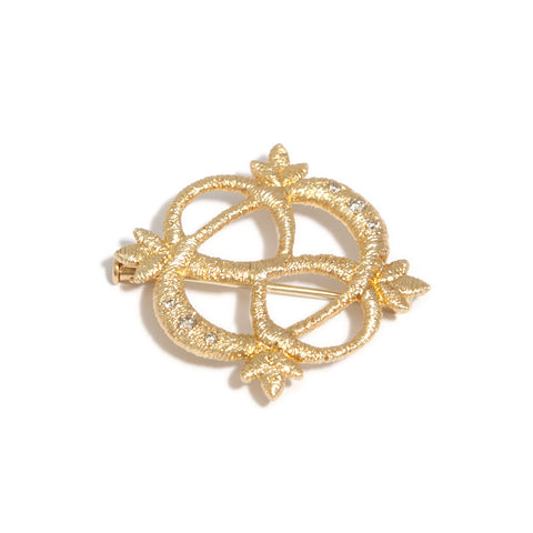Brigitte Adolph 'Multi Wear' Lace Diamond 18ct Yellow Gold Brooch Necklace