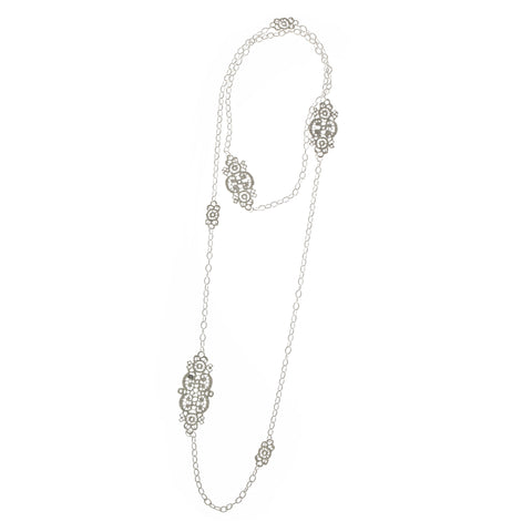 Brigitte Adolph Long Lace Silver Necklace