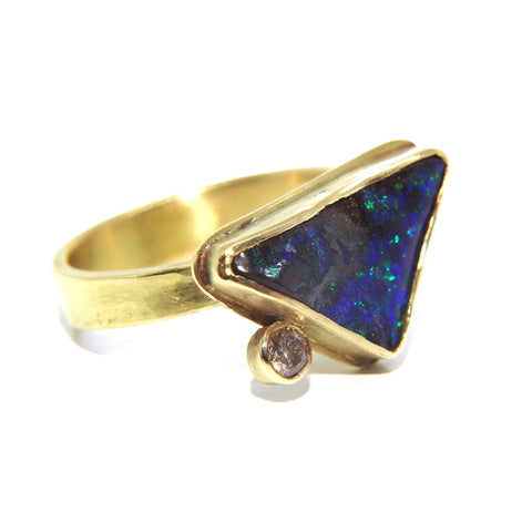 Catherine Mannheim Boulder Blue Opal And Diamond 18ct Yellow Gold Ring