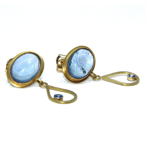 Catherine Mannheim Oval Aquamarines 18ct Yellow Gold Earrings