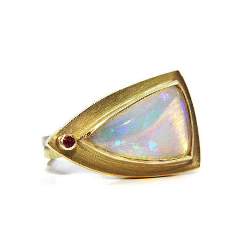 Catherine Mannheim Wello Opal And Pink Sapphire 18ct Yellow Gold Ring