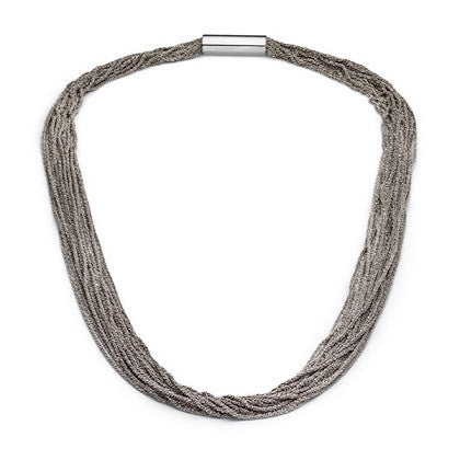 Claudia Milic Collier Mid Shine Rhodanized Silver Necklace