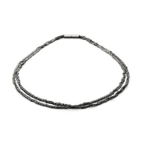 Claudia Milic Collier Twist Black Rhodanized Silver Necklace